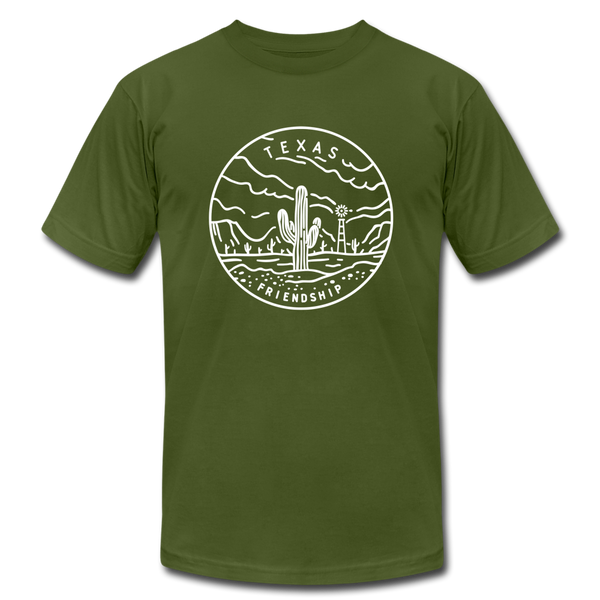 Texas T-Shirt - State Design Unisex Texas T Shirt - olive