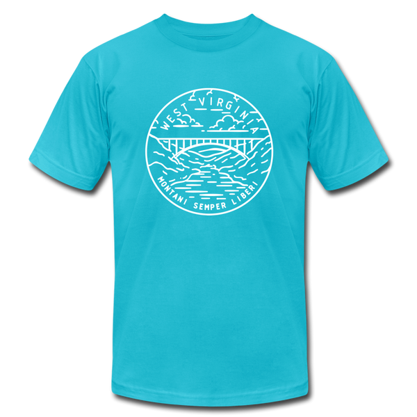 West Virginia T-Shirt - State Design Unisex West Virginia T Shirt - turquoise