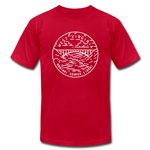 West Virginia T-Shirt - State Design Unisex West Virginia T Shirt - red