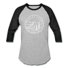 Montana Baseball T-Shirt - Retro Mountain Unisex Montana Raglan T Shirt - heather gray/black