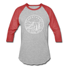 Montana Baseball T-Shirt - Retro Mountain Unisex Montana Raglan T Shirt - heather gray/red