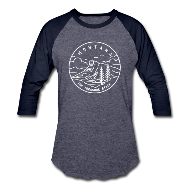 Montana Baseball T-Shirt - Retro Mountain Unisex Montana Raglan T Shirt - heather blue/navy