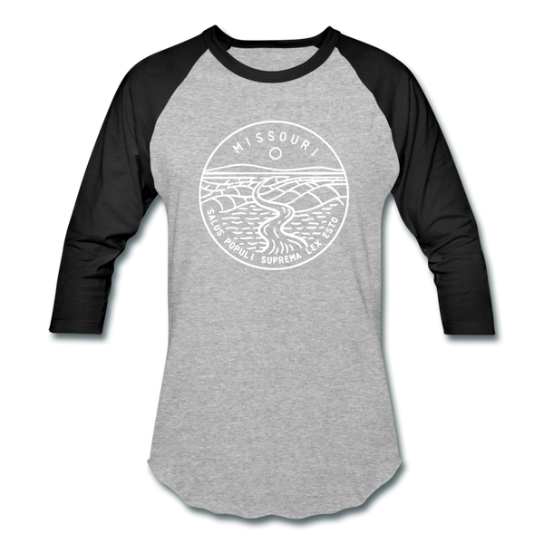 Missouri Baseball T-Shirt - Retro Mountain Unisex Missouri Raglan T Shirt - heather gray/black