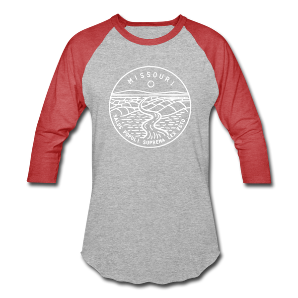 Missouri Baseball T-Shirt - Retro Mountain Unisex Missouri Raglan T Shirt - heather gray/red