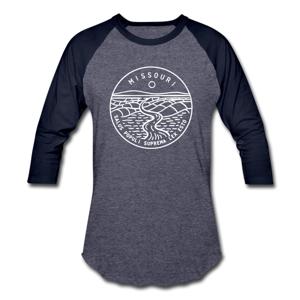 Missouri Baseball T-Shirt - Retro Mountain Unisex Missouri Raglan T Shirt - heather blue/navy