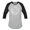 North Carolina Baseball T-Shirt - Retro Mountain Unisex North Carolina Raglan T Shirt - heather gray/black