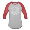North Carolina Baseball T-Shirt - Retro Mountain Unisex North Carolina Raglan T Shirt - heather gray/red