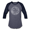 North Carolina Baseball T-Shirt - Retro Mountain Unisex North Carolina Raglan T Shirt - heather blue/navy