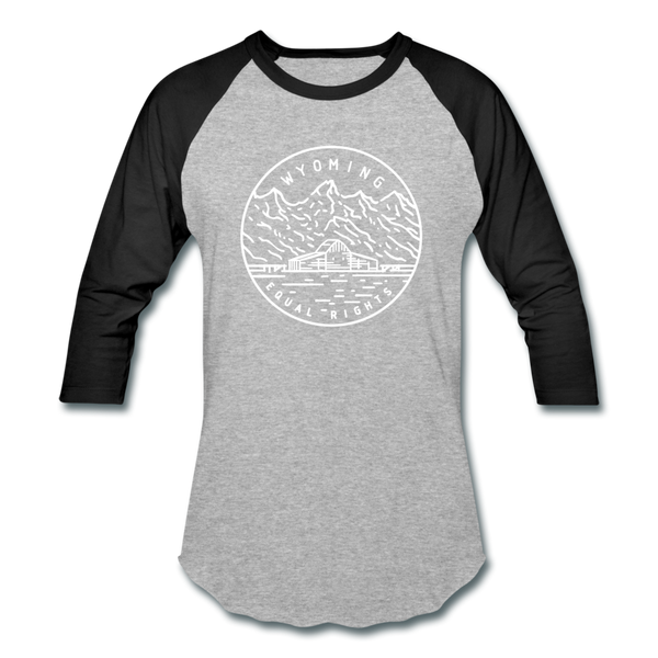 Wyoming Baseball T-Shirt - Retro Mountain Unisex Wyoming Raglan T Shirt - heather gray/black