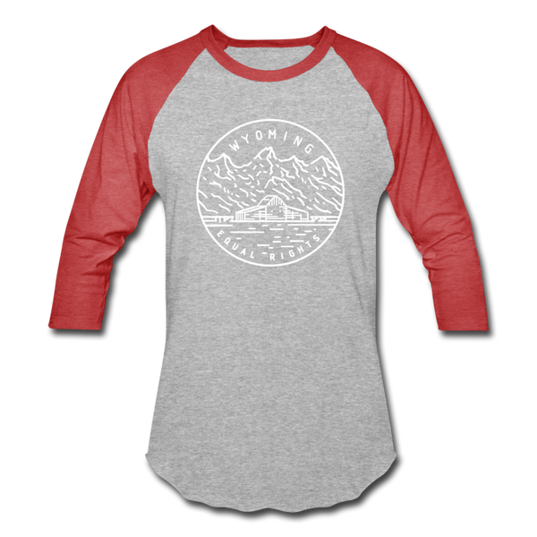 Wyoming Baseball T-Shirt - Retro Mountain Unisex Wyoming Raglan T Shirt - heather gray/red