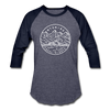 Wyoming Baseball T-Shirt - Retro Mountain Unisex Wyoming Raglan T Shirt - heather blue/navy