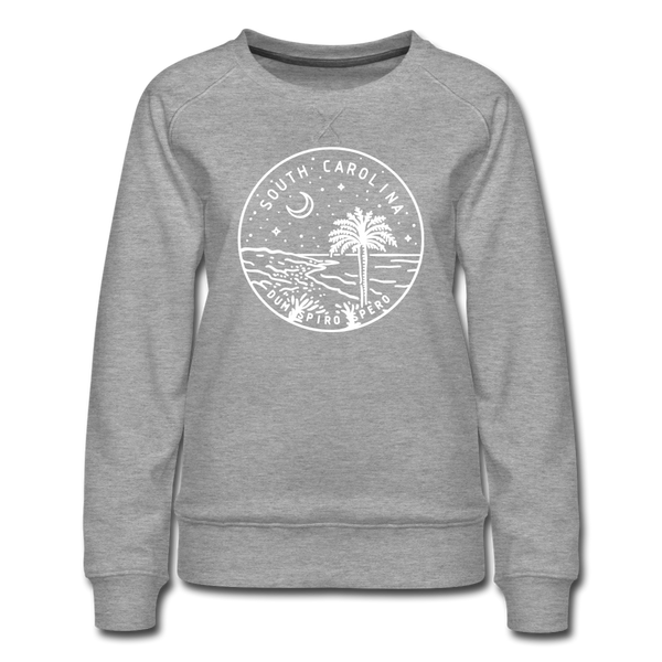 South Carolina Women's Sweatshirt - Retro Mountain Women's South Carolina Crewneck Sweatshirt - heather gray