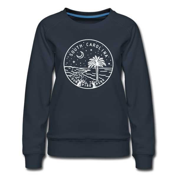 South Carolina Women's Sweatshirt - Retro Mountain Women's South Carolina Crewneck Sweatshirt - navy