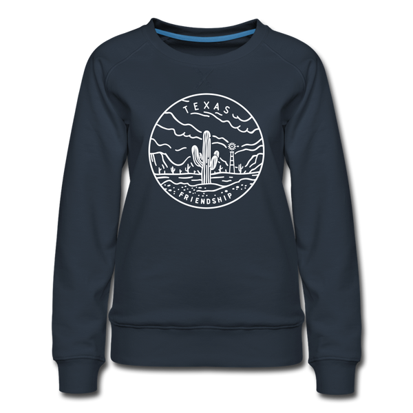 Texas Women's Sweatshirt - Retro Mountain Women's Texas Crewneck Sweatshirt - navy