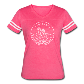 Louisiana Women's Vintage Sport T-Shirt - State Design Women's Louisiana Shirt