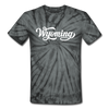 Wyoming Tie-Dye T-Shirt - Hand Lettered Wyoming Unsex T Shirt - spider black