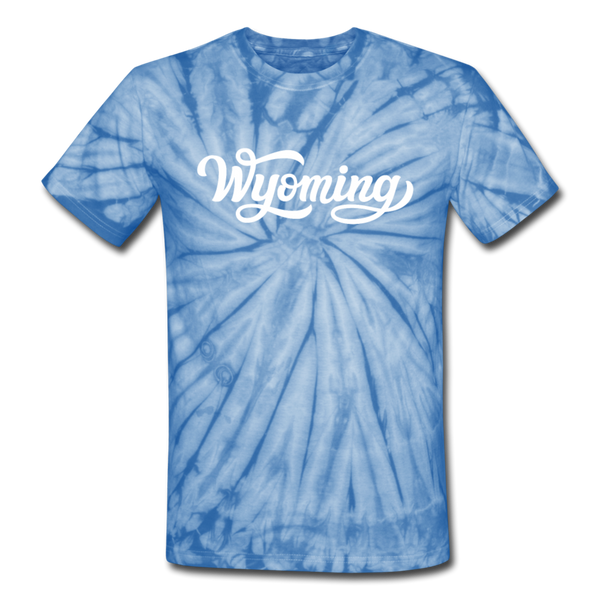 Wyoming Tie-Dye T-Shirt - Hand Lettered Wyoming Unsex T Shirt - spider baby blue