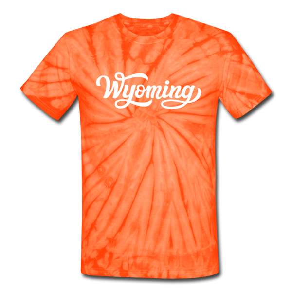 Wyoming Tie-Dye T-Shirt - Hand Lettered Wyoming Unsex T Shirt - spider orange
