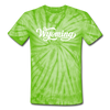 Wyoming Tie-Dye T-Shirt - Hand Lettered Wyoming Unsex T Shirt - spider lime green