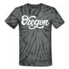 Oregon Tie-Dye T-Shirt - Hand Lettered Oregon Unsex T Shirt - spider black