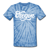 Oregon Tie-Dye T-Shirt - Hand Lettered Oregon Unsex T Shirt - spider baby blue