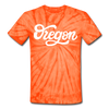 Oregon Tie-Dye T-Shirt - Hand Lettered Oregon Unsex T Shirt - spider orange