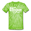 Oregon Tie-Dye T-Shirt - Hand Lettered Oregon Unsex T Shirt - spider lime green
