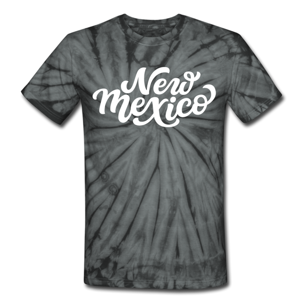 New Mexico Tie-Dye T-Shirt - Hand Lettered New Mexico Unsex T Shirt - spider black