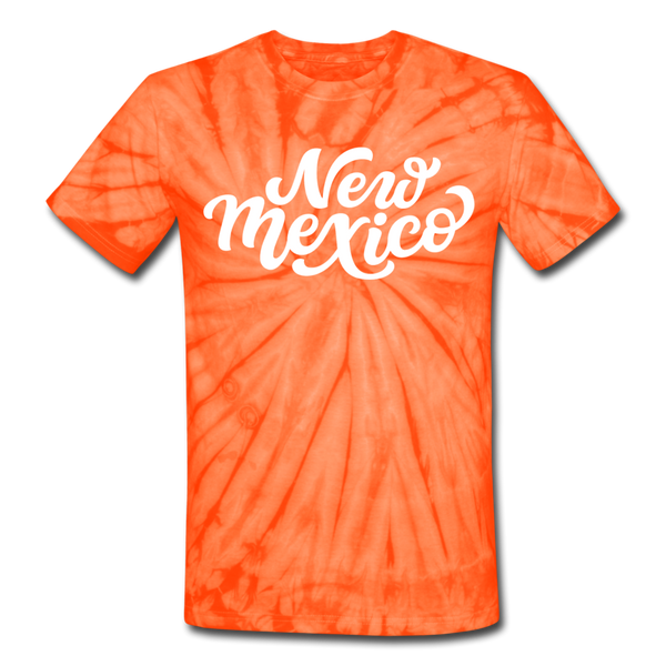 New Mexico Tie-Dye T-Shirt - Hand Lettered New Mexico Unsex T Shirt - spider orange