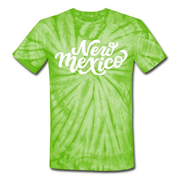 New Mexico Tie-Dye T-Shirt - Hand Lettered New Mexico Unsex T Shirt - spider lime green