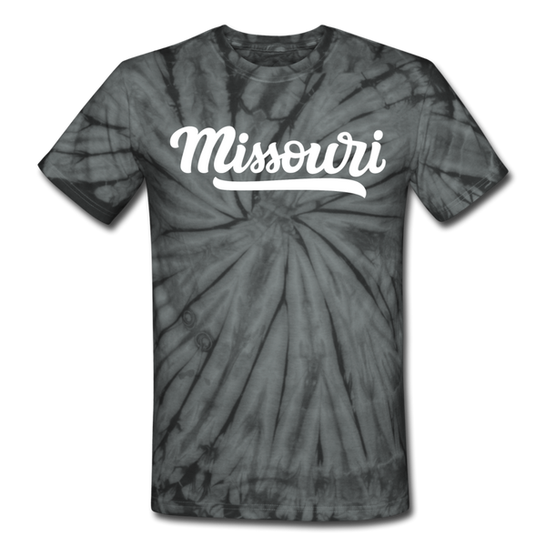 Missouri Tie-Dye T-Shirt - Hand Lettered Missouri Unsex T Shirt - spider black
