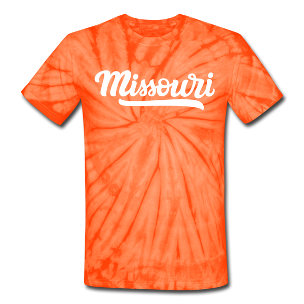 Missouri Tie-Dye T-Shirt - Hand Lettered Missouri Unsex T Shirt - spider orange