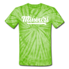 Missouri Tie-Dye T-Shirt - Hand Lettered Missouri Unsex T Shirt - spider lime green