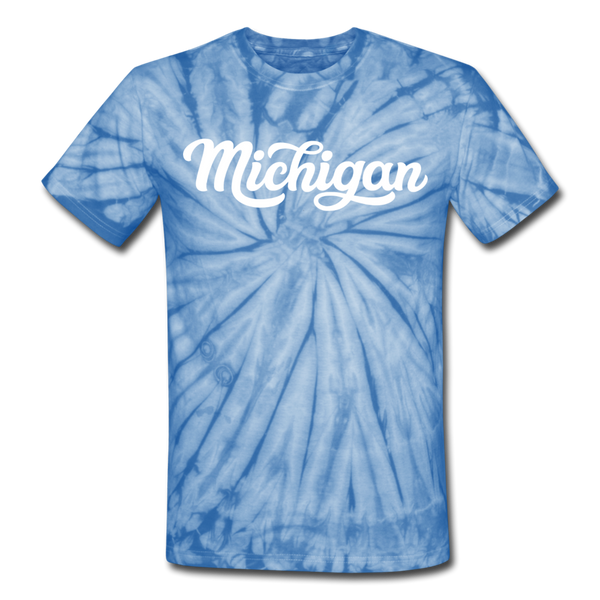 Michigan Tie-Dye T-Shirt - Hand Lettered Michigan Unsex T Shirt - spider baby blue