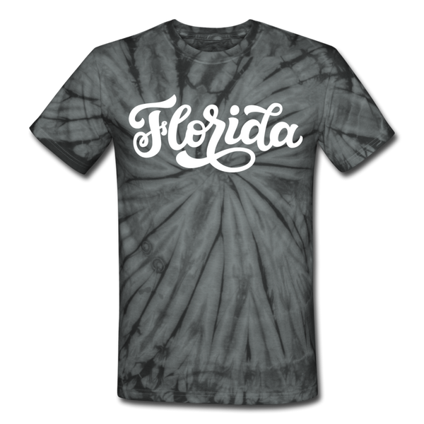 Florida Tie-Dye T-Shirt - Hand Lettered Florida Unsex T Shirt - spider black