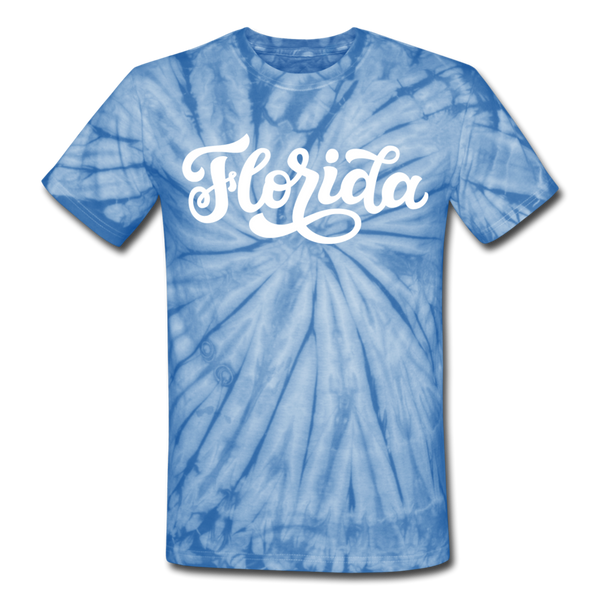Florida Tie-Dye T-Shirt - Hand Lettered Florida Unsex T Shirt - spider baby blue