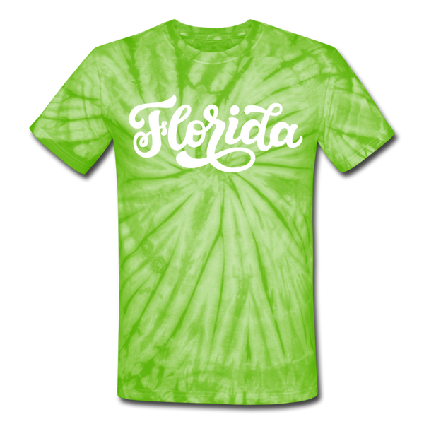 Florida Tie-Dye T-Shirt - Hand Lettered Florida Unsex T Shirt - spider lime green
