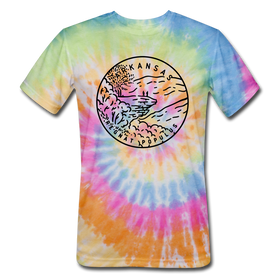 Arkansas Tie-Dye T-Shirt - State Design Arkansas Unsex T Shirt
