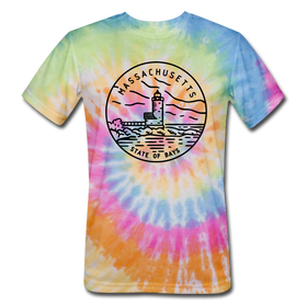 Massachusetts Tie-Dye T-Shirt - State Design Massachusetts Unsex T Shirt