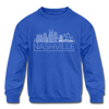 Nashville, Tennessee Youth Sweatshirt - Skyline Youth Nashville Crewneck Sweatshirt