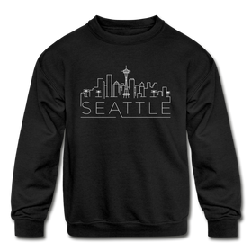 Seattle, Washington Youth Sweatshirt - Skyline Youth Seattle Crewneck Sweatshirt