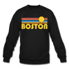 Boston, Massachusetts Sweatshirt - Retro Sunrise Boston Crewneck Sweatshirt