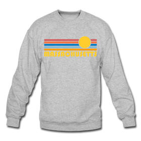Massachusetts Sweatshirt - Retro Sunrise Massachusetts Crewneck Sweatshirt