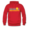 Massachusetts Hoodie - Retro Sunrise Massachusetts Hooded Sweatshirt