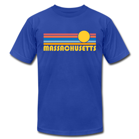 Massachusetts T-Shirt - Retro Sunrise Unisex Massachusetts T Shirt