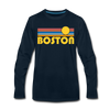 Boston, Massachusetts Long Sleeve T-Shirt - Retro Sunrise Unisex Boston Long Sleeve Shirt