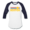 Boston, Massachusetts Baseball T-Shirt - Retro Sunrise Unisex Boston Raglan T Shirt