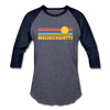 Massachusetts Baseball T-Shirt - Retro Sunrise Unisex Massachusetts Raglan T Shirt