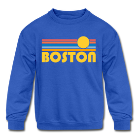 Boston, Massachusetts Youth Sweatshirt - Retro Sunrise Youth Boston Crewneck Sweatshirt