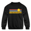 Massachusetts Youth Sweatshirt - Retro Sunrise Youth Massachusetts Crewneck Sweatshirt